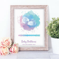 Personalised Watercolour Scan Heartbeat Word Art Print Keepsake Mother's Day