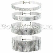 4pcs Womens Shiny Bling Full Rhinestone Choker Collar Necklace Set Wedding Party