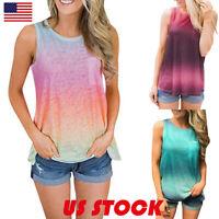Summer Casual Women Gradient Sleeveless Loose T Shirt Tunic Blouse Tank Top Vest
