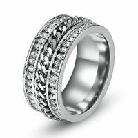 Men's Stainless Steel Full Rhinestone Crystal Chain Band Wedding Rings Size 6-11