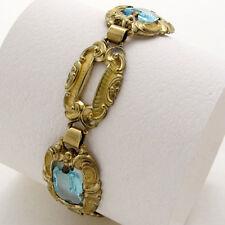 schönes breites Armband Gold Double - aquamarin blaue Steine - Art Deco Zeit
