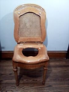 ANTIQUE VICTORIAN WOODEN CANE TOILET CHAIR 2 SEATS