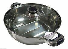 HCX 28 cm Stainless Steel Shabu Shabu Dual Sided Cooking Soup Hot Pot W/ Lid