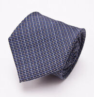 New $225 BORRELLI NAPOLI 7-Fold Silk Tie Navy-Sky Blue Woven Mini Check