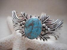 Southwest Navajo Sterling Emer Thompson Turquoise Cuff Bracelet   393B