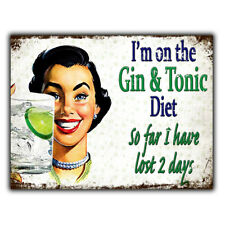 I'M ON A GIN & TONIC DIET METAL WALL PLAQUE Sign funny humorous kitchen bar cafe