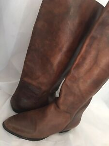 Vtg 80s Brown Marble Leather Boho Pixie Pirate Riding Slouch Flat Knee Boots 8.5