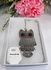Necklace - Silver Owl 27 Inch Chain With Gift Box