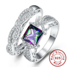 Couple Wedding Rainbow & White Topaz S925 Sterling Silver Ring Sz L½ N½ P½ R½