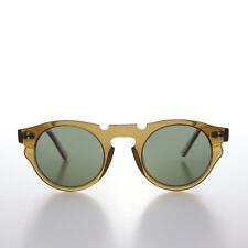 Indie Hipster Sunglasses with Keyhole Bridge Crystal Brown/Green Lens - Tisch