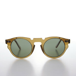 Round Hipster Sunglass with Green Polarized Lens Crystal Amber Frame - Tisch