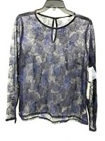 Chelsea 28 Navy Blue & Black Lace Sheer Blouse Long Sleeve Top Womens Sz Large
