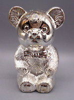 Vintage Silver-plated  Teddy Bear With Bow Tie Coin Piggy Bank w/ Box