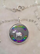 Sterling Silver 925 Pendant Necklace Magical Unicorn Pooping