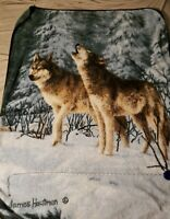 "James Hautman Howling Wolves Blanket Throw  60""x 47"" Vintage Wolf Throw"