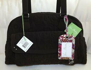 VERA BRADLEY Bowler Baby Diaper Bag & Change Pad Espresso Brown Microfiber NWT