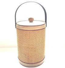Mid Century Modern Georges Briard Ice Bucket Insulated Wicker Leather Wood Trim