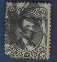 1866 US STAMP #77 USED 15c LINCOLN, INTERESTING CANCEL SNOWFLAKE WHEEL
