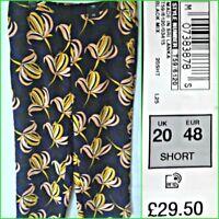 NEW M&S UK 20S WOMEN` BLACK MIX FLORAL PRINT WIDE LEG TROUSERS RRP 29.50 #P4