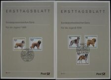 Germany 3+3a/1996 Youth Welfare Dogs Ersttagsblatt