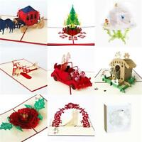 3D Pop Up Greeting Card Wedding Birthday Valentine's Day Anniversary Christmas~