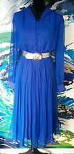 Vintage Dress - Retro Shirt Button Cuff Pleat A-Line Cobalt/Royal Blue - 12/14