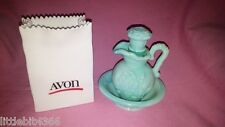 VINTAGE AVON AQUA BLUE GREEN MINI BOWL AND PITCHER SET JADITE SLAG GLASS ROSES