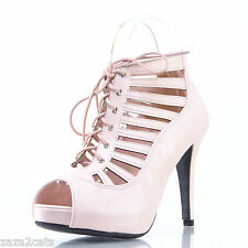 ESCARPINS Femme Sexy 40 SOIREE MULTI BRIDE OPEN TOE SIMILI CUIR ROSE NACRE TOO