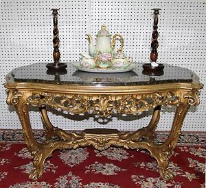 French Antique Carved Louis XV Gold Gilt Coffee Center Table Granite Top C1860
