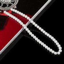 Fashion Womens White Resin Pearl Chain Chunky Choker Statement Bib Necklace 8mm