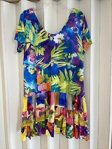 Jams World Rayon Colorful Azure Floral Tiered Hattie Dress~L~EUC