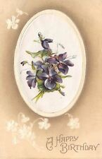 Purple Violets on Silk Oval~Tan Back~White Embossed Flowers~1912 Germany