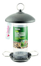 Gardman Large Black Steel Seed Feeder Easy Fill Easy Clean Metal Feeder A01513