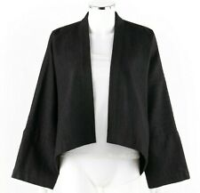 SHIRIN GUILD Dark Gray Silver Metallic Pinstripe Open Kimono Cardigan OS