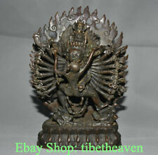 "12"" Old Tibet Red Copper Buddhism Yamantaka Yama Dharmaraja Buddha Sculpture"