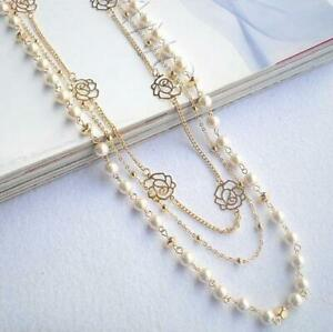 Gold Plated 3 Strands Multi Layer Flowers Faux Pearl Beads Long Sweater Necklace