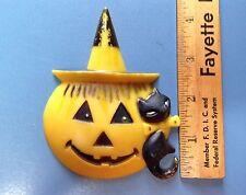 Vintage HK 1960s Halloween Cake Topper Jack O Lantern w/Witch Hat And Black Cat