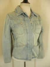 Womens S Blue Willi's Vtg Blue Denim Jean Jacket Distressed Faded Cotton Button
