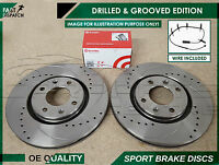 FOR MINI COOPER S R52 R53 FRONT DRILLED AND GROOVED BRAKE DISCS BREMBO PADS WIRE