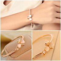 Elegant Women Crystal Flower Gold Plated Charm Cuff Bangle Bracelet Jewelry Gift