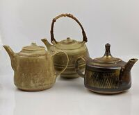 Mary Rich Studio Pottery - Small Teapots x3 A/F British Fine Quality