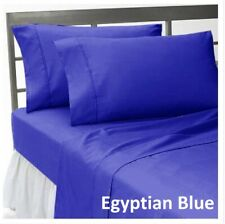 1 PC Fitted Sheet 1000 Thread Count Egyptian Cotton Egyptian Blue Solid Queen