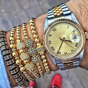 Charm Mens Bracelet 24kt Gold Plated Micro Pave Zircon Cube Macrame Bracelets
