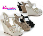 Womens Fashion Summer Sandal Wedge Heel Platform Opem Toe T-strap Slingback NEW