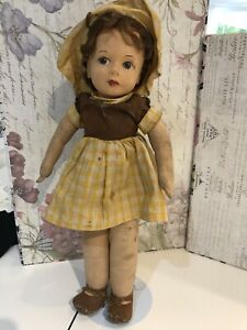 Vintage Chad Valley Doll Cloth Felt British Hygienic Toys Girl In Yellow