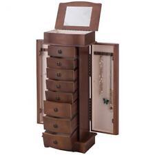 Wood Armoire Storage Chest Box Stand W Mirror Jewelry Cabinet 8-Drawer Organizer