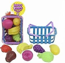 Fruit Veg Basket Toys Kids Children Pretend Play Plastic Shopping Grocery Food