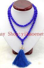 New 10mm Natural Blue Sapphire Gemstone 108 Tassel Prayer Beads Mala Necklace