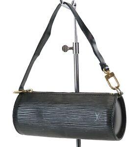 Authentic LOUIS VUITTON Black Epi Leather Mini Pochette for Soufflot #36507
