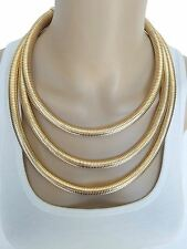 Womens Gold Multi Strand Layer Collar Necklace Set